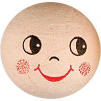 Boules d'ouate avec visages, d: 30 mm, 10 pièce/ 1 Pq.