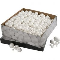 Boules et oeufs en polysytrène, dim. 1,5-6,1 cm, blanc, 550 pièce/ 1 Pq.