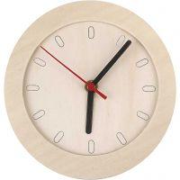 Horloge en bois, d: 15 cm, 1 pièce