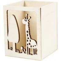 Pot à crayons, girafe, H: 10 cm, L: 8 cm, 1 pièce