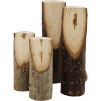 Bouts de bois décoratifs coupés en biais, H: 8+12 cm, d: 2,5-3,5 cm, 4 pièce/ 1 Pq.
