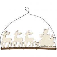 Décoration de Noël, traîneau avec rennes, H: 8 cm, prof. 0,5 cm, L: 22 cm, 1 pièce