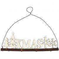 Décoration de Noël, XMAS, H: 7 cm, prof. 0,5 cm, L: 22 cm, 1 pièce