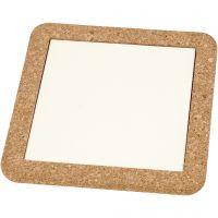 Dessous-de-plat avec cadre en liège, dim. 15,5x15,5x1 cm, blanc, 2 pièce/ 1 Pq.