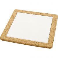 Dessous-de-plat avec cadre en liège, dim. 19x19x1,1 cm, blanc, 10 pièce/ 1 boîte