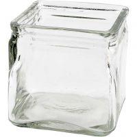 Bougeoirs carrés, H: 10 cm, dim. 10x10 cm, 12 pièce/ 1 boîte