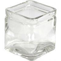 Bougeoirs carrés, H: 5,5 cm, dim. 5,5x5,5  cm, 12 pièce/ 1 boîte