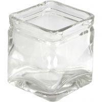 Bougeoirs carrés, H: 8 cm, dim. 7,5x7,5 cm, 12 pièce/ 1 boîte