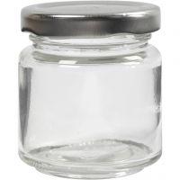 Pot en verre, H: 6,5 cm, d: 5,7 cm, 100 ml, transparent, 12 pièce/ 1 boîte