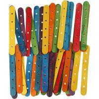 Bâtons avec trous, L: 15 cm, L: 1,8 cm, diamètre intérieur 4 mm, couleurs assorties, 500 ass./ 1 Pq.