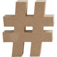 Symbole en MDF, # , H: 13 cm, ép. 2 cm, 1 pièce
