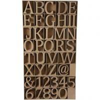 Chiffres, lettres et signes en bois, H: 13 cm, ép. 2 cm, 160 pièce/ 1 Pq.