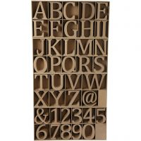 Chiffres, lettres et signes en bois, H: 8 cm, ép. 1,5 cm, 240 pièce/ 1 Pq.