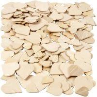 Coeurs mosaïque en bois, dim. 18-30 mm, 60 pièce/ 1 Pq.