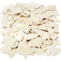 Mosaïques en bois - différentes formes, dim. 1,3-5,5 cm, 500 pièce/ 1 Pq.