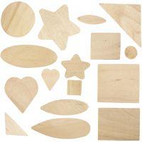 Mosaïques en bois - différentes formes, dim. 1,3-5,5 cm, 60 pièce/ 1 Pq.
