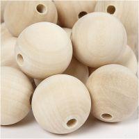 Perle en bois, d: 30 mm, diamètre intérieur 5 mm, 50 pièce/ 1 Pq.