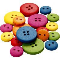 Boutons en bois, d: 12-20 mm, 2-4 trous, couleurs assorties, 360 pièce/ 1 Pq.
