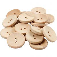 Boutons en bois, d: 23 mm, diamètre intérieur 2 mm, 2 trous, 20 pièce/ 1 Pq.