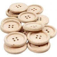 Boutons en bois, d: 30 mm, diamètre intérieur 2 mm, 4 trous, 14 pièce/ 1 Pq.