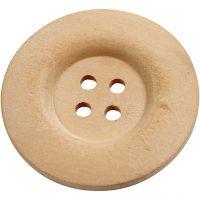 Boutons en bois, d: 40 mm, diamètre intérieur 3 mm, 4 trous, 6 pièce/ 1 Pq.