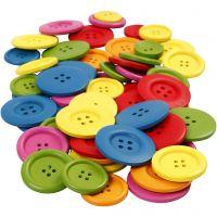 Boutons en bois, d: 25-40 mm, 2-4 trous, couleurs assorties, 144 pièce/ 1 Pq.