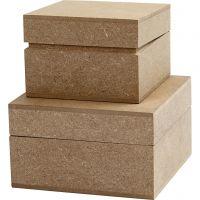 Boîtes, H: 4,8+5,5 cm, dim. 7,5+9,5 cm, 2 pièce/ 1 Pq.