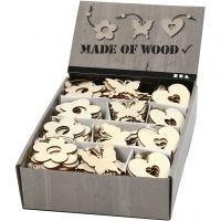 Décorations en bois, fleur, papillon, coeur, dim. 6 cm, ép. 3 mm, 200 pièce/ 1 Pq.