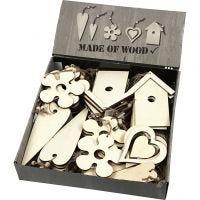 Décorations en bois, dim. 6,5-21,5 cm, ép. 5 mm, 100 pièce/ 1 Pq.