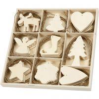 Décorations en bois, Noël, dim. 7-8 cm, 72 pièce/ 1 Pq.