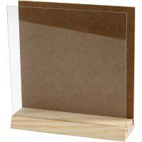 Planchette 3D avec vitre, dim. 15x15 cm, 1 set