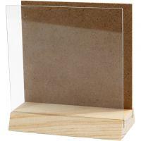 Planchette 3D avec vitre, dim. 10x10 cm, 1 set
