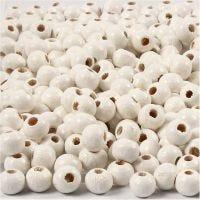 Perles en bois, d: 5 mm, diamètre intérieur 1,5 mm, blanc, 6 gr/ 1 Pq., 150 pièce