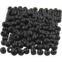 Perles en bois, d: 5 mm, diamètre intérieur 1,5 mm, noir, 6 gr/ 1 Pq., 150 pièce
