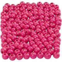 Perles en bois, d: 5 mm, diamètre intérieur 1,5 mm, rose, 6 gr/ 1 Pq., 150 pièce