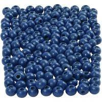 Perles en bois, d: 5 mm, diamètre intérieur 1,5 mm, bleu, 6 gr/ 1 Pq., 150 pièce