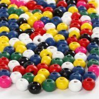 Mélange de perles en bois, d: 4 mm, diamètre intérieur 1,5 mm, couleurs assorties, 6 gr/ 1 Pq.