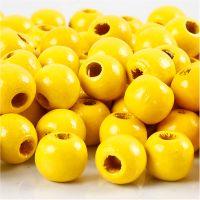 Perles en bois, d: 12 mm, diamètre intérieur 3 mm, jaune, 22 gr/ 1 Pq.