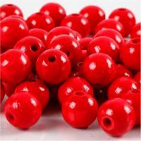 Perles en bois, d: 12 mm, diamètre intérieur 3 mm, rouge, 22 gr/ 1 Pq.