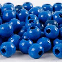 Perles en bois, d: 12 mm, diamètre intérieur 3 mm, bleu, 22 gr/ 1 Pq.