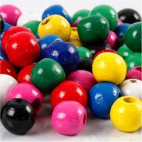 Mélange de perles en bois, d: 10 mm, diamètre intérieur 3 mm, couleurs assorties, 230 gr/ 1 Pq.
