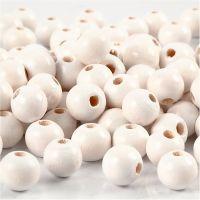 Perles en bois, d: 8 mm, diamètre intérieur 2 mm, blanc, 15 gr/ 1 Pq., 80 pièce