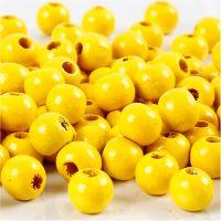Perles en bois, d: 8 mm, diamètre intérieur 2 mm, jaune, 15 gr/ 1 Pq., 80 pièce