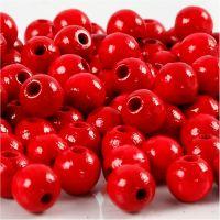 Perles en bois, d: 8 mm, diamètre intérieur 2 mm, rouge, 15 gr/ 1 Pq., 80 pièce