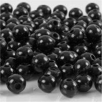 Perles en bois, d: 8 mm, diamètre intérieur 2 mm, noir, 15 gr/ 1 Pq., 80 pièce