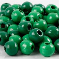 Perles en bois, d: 10 mm, diamètre intérieur 3 mm, vert, 20 gr/ 1 Pq.