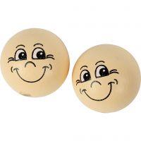 Boules en bois avec visage, d: 22 mm, beige clair, 10 pièce/ 1 Pq.