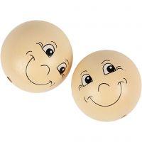 Boules en bois avec visage, d: 40 mm, beige clair, 10 pièce/ 1 Pq.