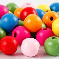 Mélange de perles en bois, d: 12 mm, diamètre intérieur 2,5-3 mm, couleurs assorties, 22 gr/ 1 Pq.