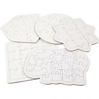 Puzzle, dim. 17-21 cm, blanc, 10 pièce/ 1 Pq.